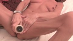 Very Slender Granny Stretching Her Tight Pussy With A Toy