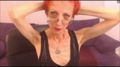 Anorexic Granny Flexes Her Biceps And Hairplay Biceps