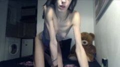 Thin Anorexic Girl Flashes Her Ribs