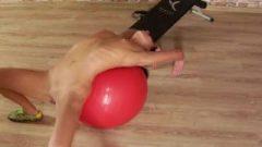 Slender Teen Girl Doing Nude Fitness
