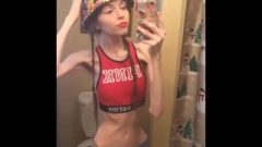 Anorexic Gina Body Check In Mirror