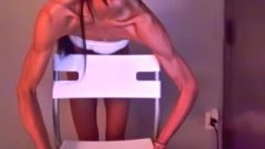 Voluptuous Slender Girl Flexing And Lifting