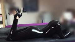 Super Slender Latex Blonde Gets Rubbed Some Penis
