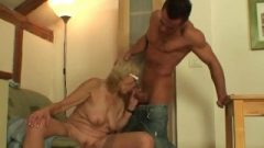 Banging Old Girlfriends Blonde Granny On The Table