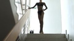 Bianca Extreme Slender Daughter Fishnet Stockings Posing Shaved