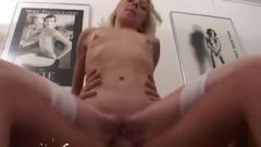 Slender Blonde Honey Gets Smashed In The Bum And Punani