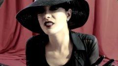 Elegant Gothic Stylish Lady Hat And Ultra Skinny Soft Leather Gloves